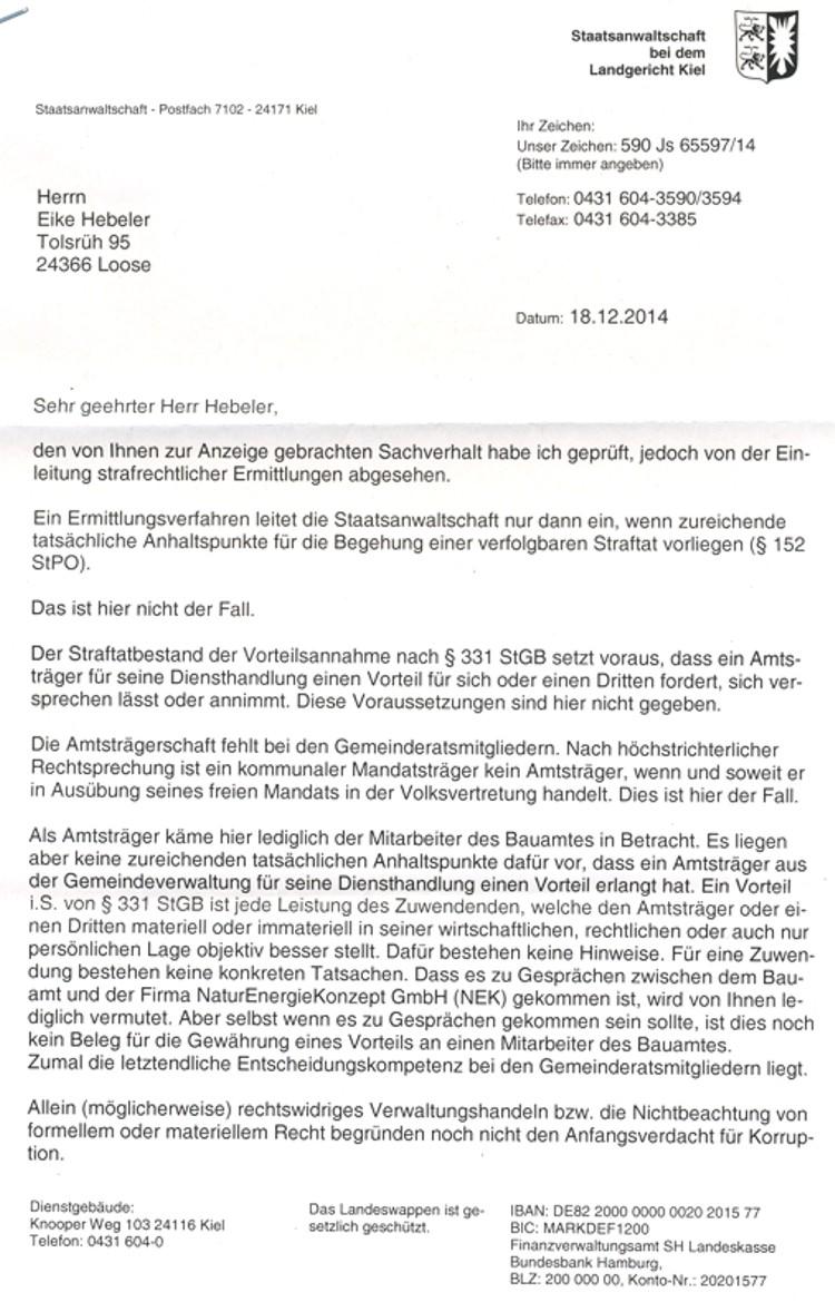 Antwortschreiben Staatasanwaltschaft Kiel